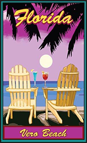 Northwest Art Mall JK-5684 ACPP Vero Beach Florida Adirondack Chairs Palms Punch Print by Artist Joanne Kollman, 11