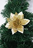 Sweet Home Deco 13'' Glitter Poinsettia Artificial Flower Bush Dual-use Christmas Decoration (5 Flower Heads), no Pot Included (Gold)