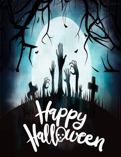 happy halloween: Notebook happy halloween zombie hands black color (Composition Book Journal ,Notebook, Journal) (8.5 x 11 Large) (Volume 27)