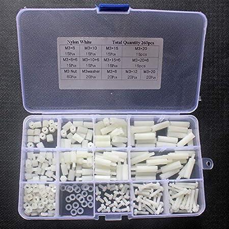 Ferrell 260 Unids/Caja Spacer Hex Columna Tuerca Tornillo Kit Surtido M3 Separadores Roscado Pilar Herramienta de Reparación: Amazon.es: Hogar