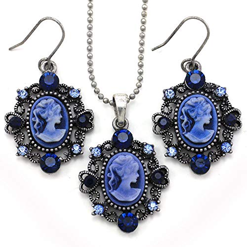 Soulbreezecollection Navy Blue Cameo Necklace Pendant Dangle Drop Earrings Fashion Jewelry Set