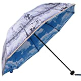 Romantic Oil Painting Folding Travel Sun Umbrella UV Protection UPF 50+ Rain Resistant Compact Size Parasol Double Layer Blue Sky White Clouds (Eiffel Tower)