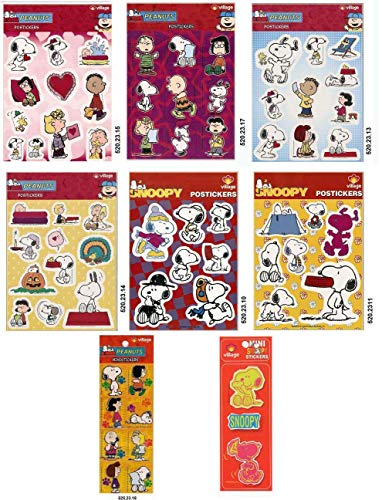 (LOT OF 8 STICKERS OF SNOOPY PEANUTS CHARACTER)