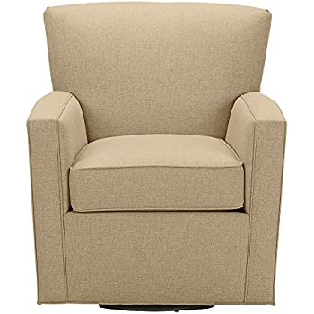 Ethan Allen Turner Swivel Chair, Palmer Oyster Chenille Fabric