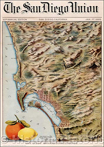 Historic Map | San Diego Bay And Surroundings, 1899, San Diego Union Tribune | Vintage Wall Art 44in x 62in