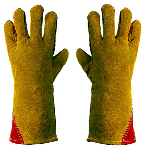 Work Gloves Leather Gardening Glove (1 Pair) 14 inch for Men Women Cowhide Reinforced Protection Padding Palm Animal Handling Bite Proof Dog Cat Scratch(Brown)