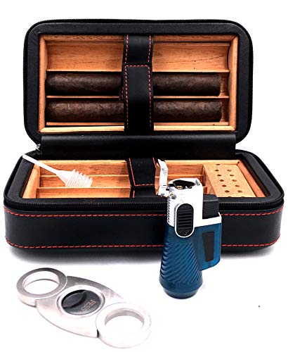 Pouch Gift Set (Fess Products Travel 6 Cigar Humidor, Spanish Cedar Wood Cigar Case, Portable Cigar Box with Humidifier, Cigar Cutter, Pouch Gift Set)