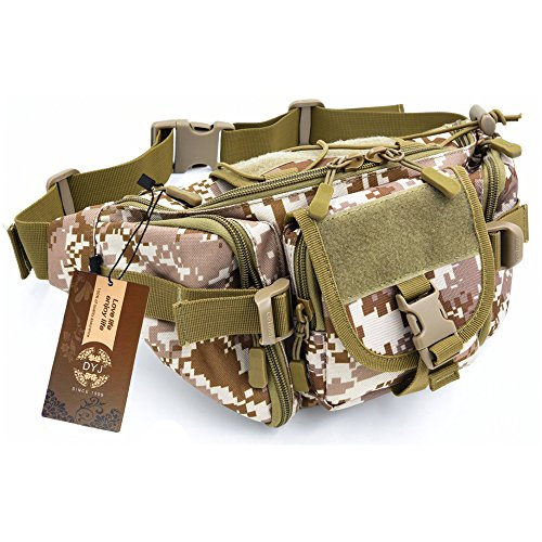 DYJ Utility Multipurpose Molle Tactical Waist Bag Hip Pack Military Fanny Pack Compact Waterproof Hip Belt Bag Pouch Hiking Climbing Outdoor Bumbag