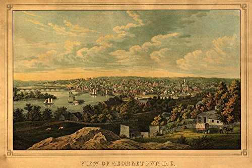 (Georgetown, Washington DC - (1855) - Panoramic Map (12x18 Art Print, Wall Decor Travel Poster))