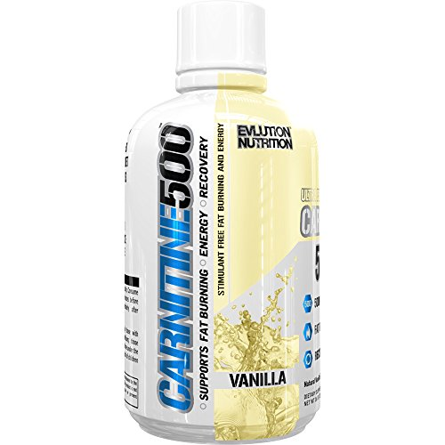 Evlution Nutrition Liquid L-Carnitine500 | 500 mg of Pure L Carnitine in Each Serving | Stimulant-Free | Vanilla (93 Servings)