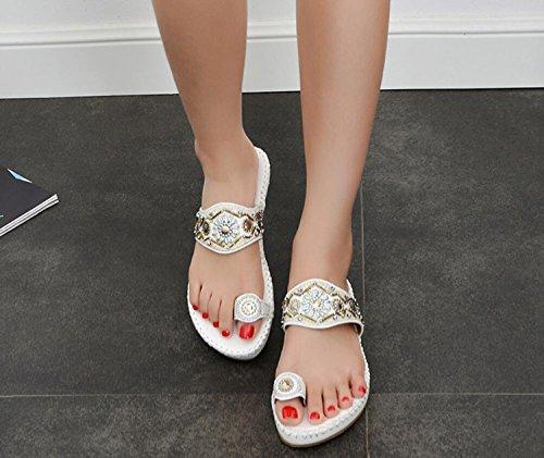 Ethnique Femmes Plates Summer Blanc Bas Flops 41 DANDANJIE Talons Clip à Perlé 35 Brodé Beach Blanc Sandales Noir Toe Flip Style OwZnRxqtRd