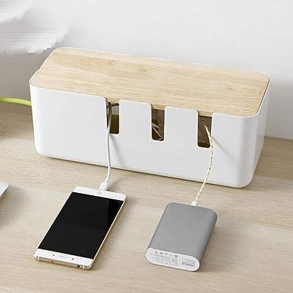 ACHICOO - Caja de almacenamiento de cables USB con tapa de roble hueca para fregadero de calor: Amazon.es: Oficina y papelería