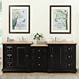 Silkroad Exclusive Bathroom Vanity Travertine Top Double Sink Cabinet, 90.5''