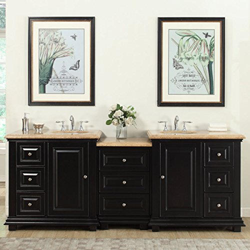 Silkroad Exclusive Bathroom Vanity Travertine Top Double Sink Cabinet, 90.5'' by Silkroad Exclusive