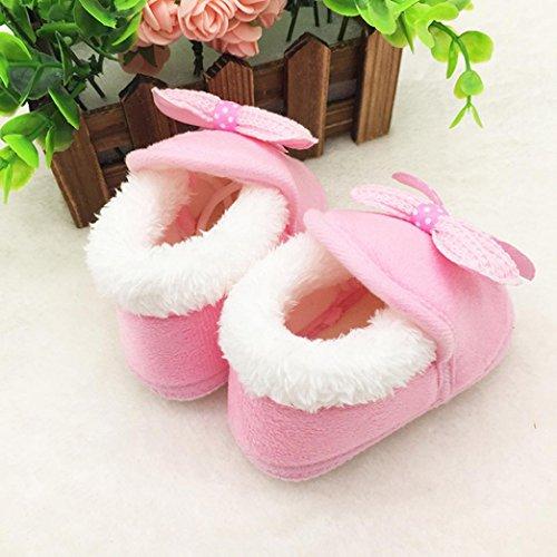 Huhu833 Kinder Mode Mädchen Schuhe Winter Baby Bowknot Schuhe Weiche Sohle Stiefel Prewalker Warme Schuhe Rosa-E