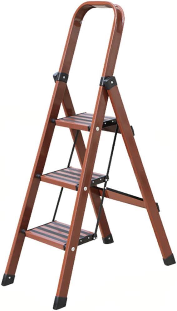 Escalera plegable Escalera decorativa, escalera de tres escalones de la cocina Escalera multifuncional plegable de metal Multifuncional (color : Marrón rojizo, Tamaño : 45 * 86 * 147CM): Amazon.es: Bricolaje y herramientas