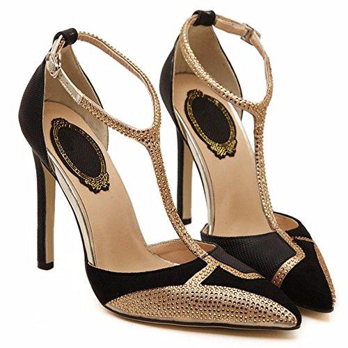 YMFIE Estilo Europeo y Sexy Sexy Zapatos de Alto Perfil Diamond Ladies' Zapatos Zapatos. b