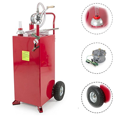 Roadstar 30-Gallon Portable Fuel Transfer Gasoline Tanks Gas Caddy Storage with Pump and Wheels, Red