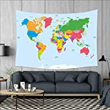 smallbeefly Map Wall Hanging Tapestries Classical Colorful Map of World in Political Style Travel Europe America Asia Africa Large tablecloths 84''x54'' Multicolor