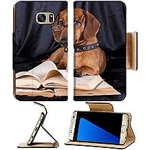 MSD Premium Samsung Galaxy S7 Edge Flip Pu Leather Wallet Case IMAGE ID: 10142599 puppy purebred dachshund