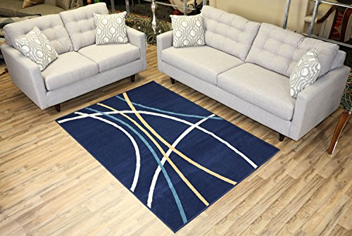 Modela Collection Stripes Abstract Contemporary Modern Area Rug Rugs (Navy Blue, 4'9