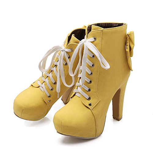 Boots Chunky amp;N Womens Leather Imitated Yellow Bandage Platform A Heels fv8wTTq