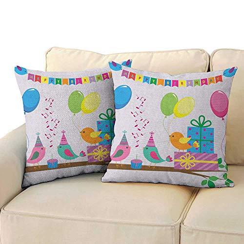 RenteriaDecor Kids Birthday,Custom Pillow Cases Singing Birds Happy Birthday Song Flags Cone Hats Party Cake Celebration 24