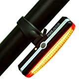 Red LED Bike Taillights, Feelhom Waterproof USB Rechargeable LED Rear Bicycle Light, Red and White Bright 6 Modes Easy To Install for Cycling Safety Flashlight