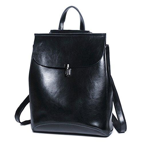 (JVP1087-L) Señoras de cuero de la mochila de nuevo de cuero verde de gran capacidad 3way bolso de hombro trasero bolso de hombro Las niñas retro simples viajan la luz linda popular de moda Negro
