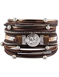 Leather Wrap Bracelet Braided Cuff Bangle Tube Bracelet...