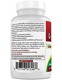 (Nueva fórmula mejorada) Best Naturals L-Arginina 1000 mg 120 comprimidos - Suplemento de Arginina...