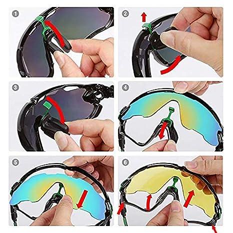 TOPTETN Polarized Sports lunettes de soleil UV400 protection lunettes de v/élo avec 5 lentilles interchangeables pour le cyclisme ski baseball p/êche course