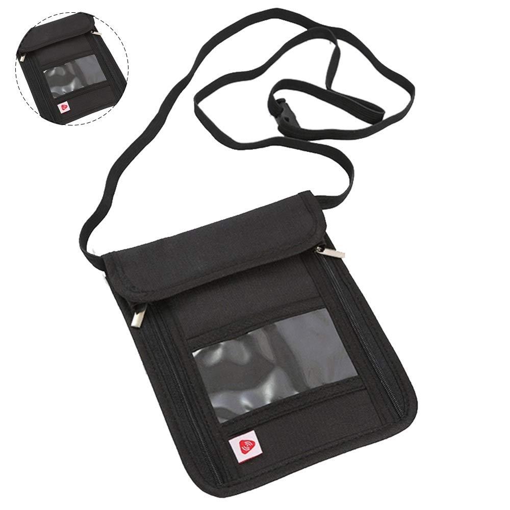 bolsa oculta con cremallera Bolsa m/últiple para tarjetas de cr/édito y tel/éfonos m/óviles de pasaporte Identificaci/ón de efectiv Organizador Multifuncional Soporte de pasaporte para billetera de cuello
