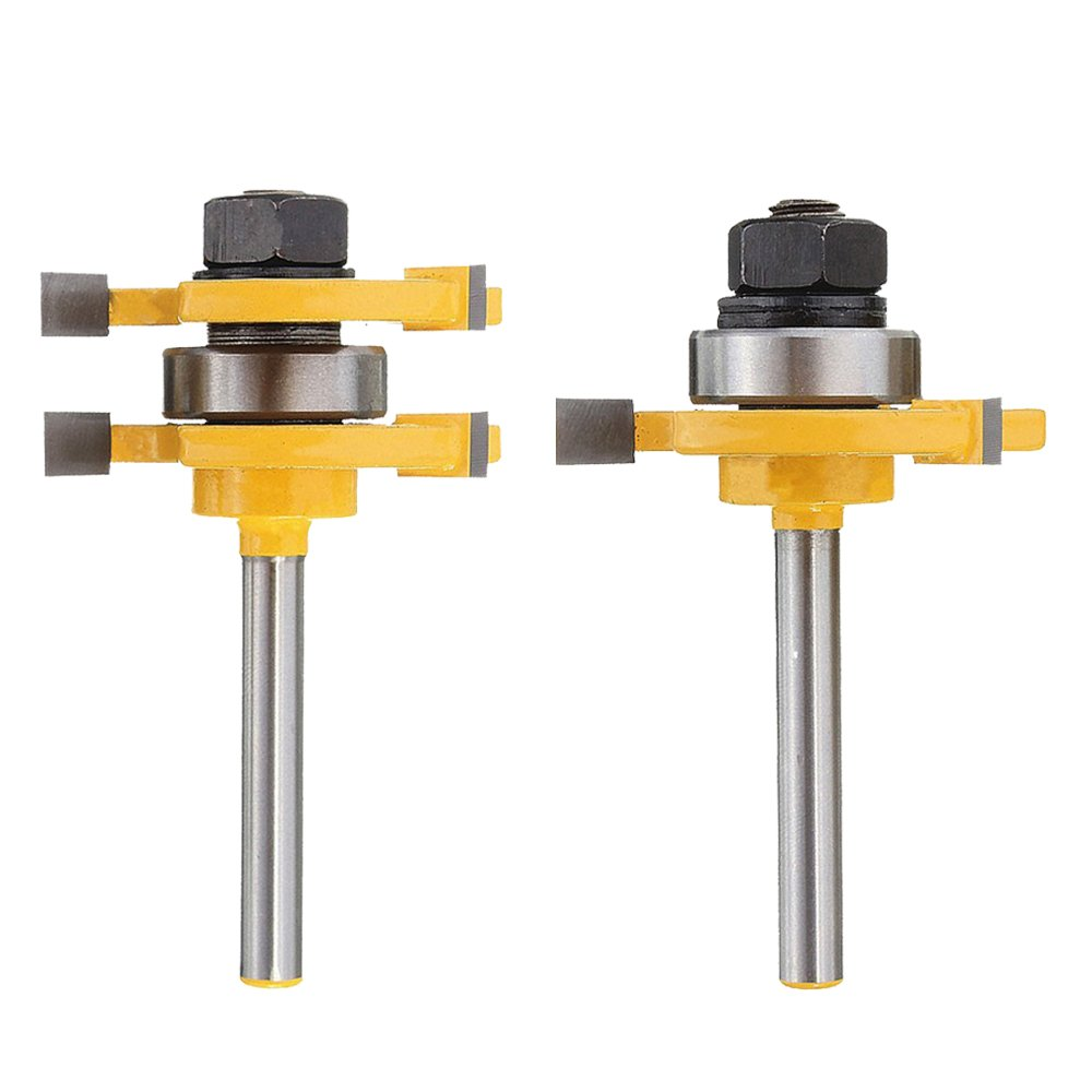 Mesee Matched Tongue and Groove Router Bit Set, 1/4 Inch Shank 3 Teeth T Shape Milling Cutter Woodworking Cutting Tool