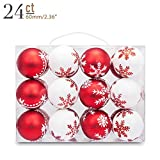 "Yoland 2.36"" 24pcs Christmas Ball Shatterproof Ornaments Tree Hangings for Xmas any Holiday Parties Decorations with Gift-Box (Red&White)"