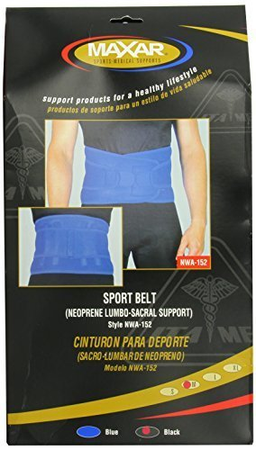 MAXAR NWA-152 BL Medium Airprene Sport Belt Breathable Neoprene Lumbo-Sacral Support by ITA-MED CO