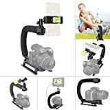 Fantaseal DC+DV+3-in-1 Camera Steadycam Mount Hand Grip C Stabilizer Bracket Low Position Shooting Rig Handle Support Holder w/3 Axis Hot Shoe Bubble Level for Gopro/SJCAM/Garmin Virb