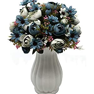 Werrox Artificial Peony Bud Mixed Flowers, 4pcs Plastic Plants Silk Fake Flowers Bouquet Bridal Home Garden Office Kitchen Bathroom Table Centerpieces Decor Decorations Blue | Model WDDNG -3282 87