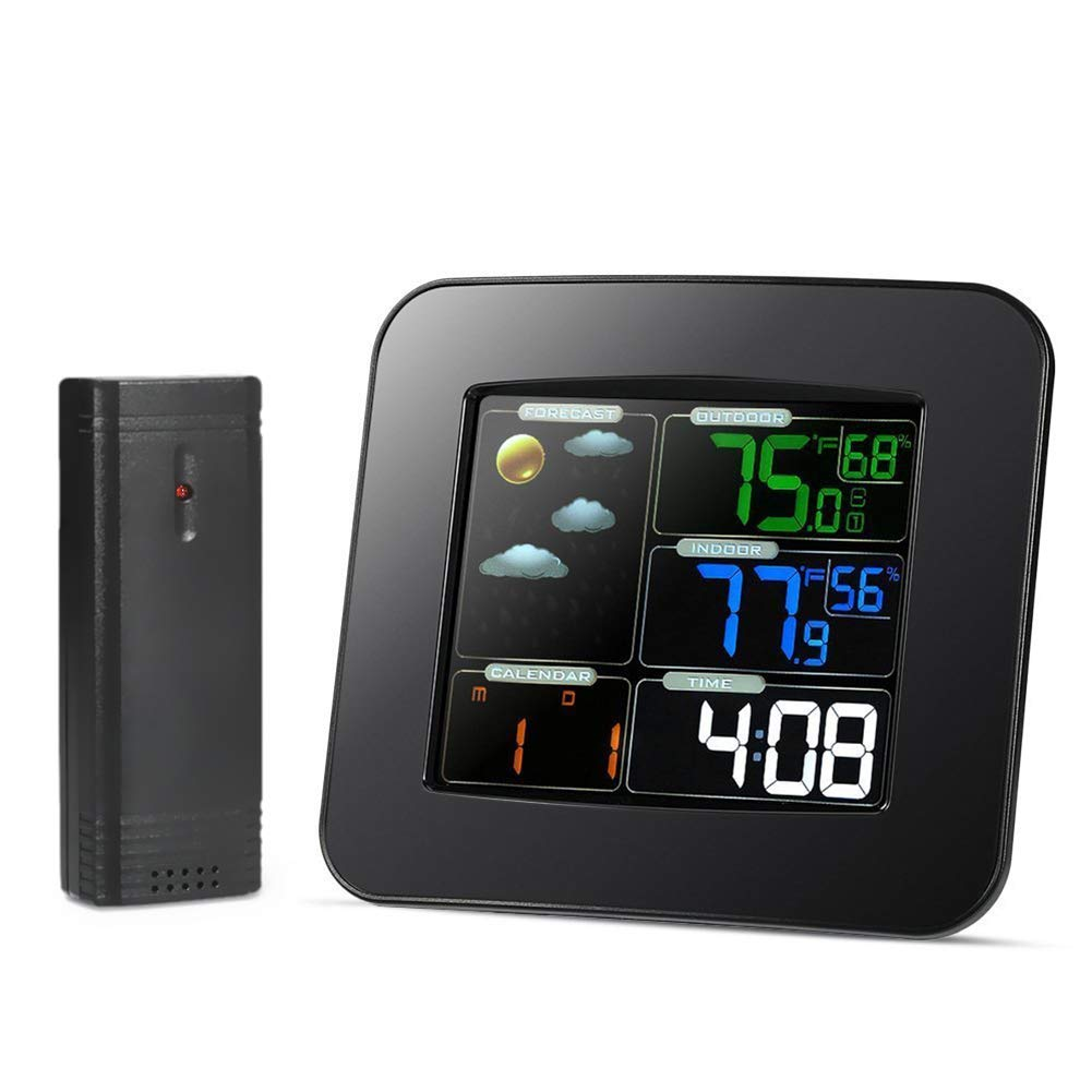 Traioy Wireless Digital Weather Station Temperature and Humidity Meter with Outdoor Sensor Color LCD Display Snooze Alarm Clock, Suitable for Indoor and Outdoor, Black
