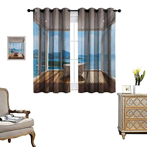 Bathroom Window Curtain Drape Minimalist Design Bathtub with Relaxing Scenery of Islands Print Decorative Curtains for Living Room W72 x L72 White Pale Brown and Blue