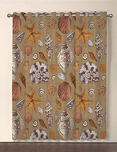 iPrint One Panel Extra Wide Sheer Voile Patio Door Curtain,Ocean,Underwater Starfish Shell Mollusk Seaurchin Sea Horse Pearl Illustration,Ginger Cinnamon Cocoa,for Sliding Doors(108