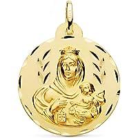 Medalla Escapulario V. Carmen y C. Jesús Oro 18 Kilates Tallado 26mm
