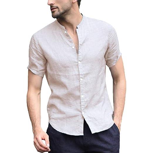 Amazon com: KINGOL Men's Baggy Cotton Linen Shirts Solid Short