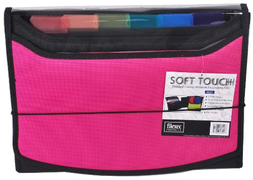 Filexec Soft Touch Padded Canvas Window Expanding File, 13 Pockets, 1 Pack, Hot Pink (46222-3) ()