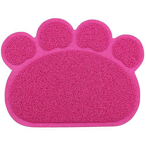 Pet Dog Puppy Cat Feeding Mat Pad Cute Paw PVC Bed Dish B...