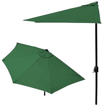 casapro sombrilla de media pantalla con manivela verde cm para jardn