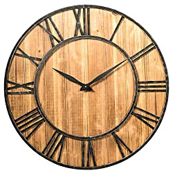 Tangkula Round Wall Clock, 30 Inch Wall Clock with Roman Numerals, Decorative Wooden Wall Clock, Come with AA Battery, Rustic Wall Clock Hanging for Home Offiice (Bronze+Brown)