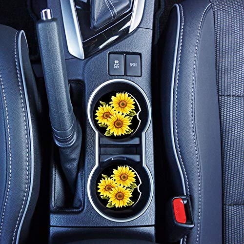 Car Coasters for Drinks Cup Holders Absorbent,2 Packs Ceramic Car Cup Holder Coaster,Cute Car Accessories for Women,Stone Black Car Coasters with Finger Notch and Easy Clean(Painting Sunflower)