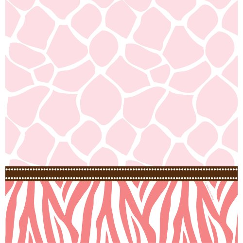 - Creative Converting Baby Shower Wild Safari Pink Border Print Plastic Table Cover, 54 by 108-Inch