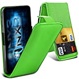 ONX3® (Green) ZTE Grand X2 Universal Luxury Style Folding PU Leather Spring Clamp Holder Top Flip Case with 2 Cards slot, Slide Up and Down Camera